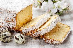 Coconut easter cake and quail eggs Stock Photo