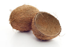Coconut and empty shell stock photo