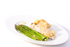 Coconut Encrusted Mahi Mahi. With Asparagus and Mango Royalty Free Stock Photos