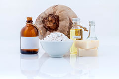 Coconut essential Oils natural Spa Ingredients for scrub  Stock Photography