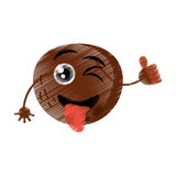 Coconut expressions silly face. Icon, illustration royalty free illustration