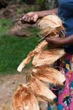 Coconut in female hands with removed shell. As a part of traditional twines and corns production in Asia Stock Photo