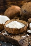 Coconut flakes in bowl royalty free stock photos