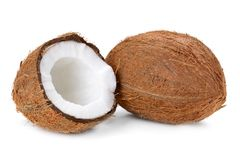 Coconut. Flakes with  in wooden bowl on the white background stock photography