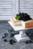 Coconut flour cake with cream and blackberries Stock Photo