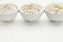 Coconut flour and flakes Stock Photo