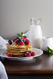Coconut flour pancakes with fresh berries Royalty Free Stock Photo