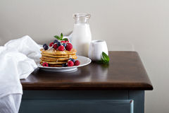 Coconut flour pancakes with fresh berries Royalty Free Stock Image