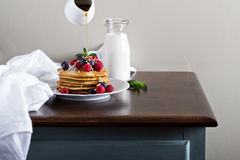 Coconut flour pancakes with fresh berries Stock Images