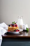 Coconut flour pancakes with fresh berries Stock Photo