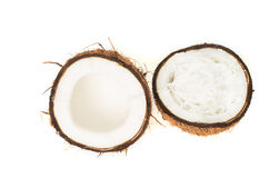 Coconut fruit cut in half Stock Photo
