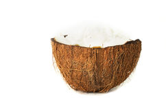 Coconut fruit cut in half Royalty Free Stock Photos