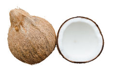 Coconut Fruit Cut In Half And Coconut Isolated Over The White B Stock Image