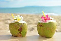 Coconut fruit with flower on wood table with blue sea Royalty Free Stock Image