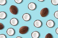 Coconut fruit on a pastel blue background. Minimal summer conce. Pt. Flat lay stock photo