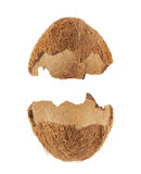 Coconut fruit shell cut in half. Isolated over the white background, set of two halves stock photography
