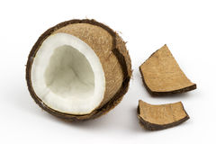 Coconut fruit shell cut in half Stock Image