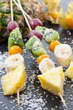 Coconut Fruit Skewers Stock Photography