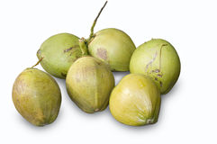 Coconut fruits. Picture of six green coconuts Stock Photos