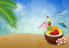Coconut with fruits on the beach royalty free illustration