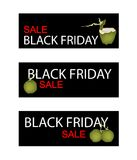 Coconut Fruits on Black Friday Sale Banner Royalty Free Stock Photography
