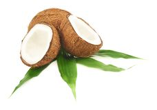 Coconut Fruits Over The Leaves Stock Photos