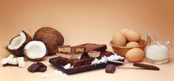 Coconut fudge composition with ingredients Royalty Free Stock Photo