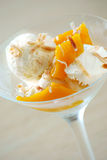 Coconut gelato. With fresh mango and toasted coconut Stock Photo