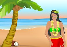 Coconut girl, cdr vector Stock Image