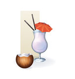 Coconut  in goblet of juice, cocktail, smoothie Stock Images