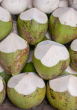 Coconut. Green Coconuts chopped and ready for drinking stock images
