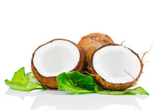 Coconut with green leaf Royalty Free Stock Photos