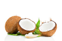 Coconut with green leaf Royalty Free Stock Photo