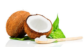 Coconut with green leaf. On white background Stock Photo