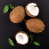 Coconut with green leaves  on a black. Background. Broken coconut. top composition Stock Photography