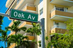 Coconut Grove Cityscape. Cityscape sign view of the popular downtown area of Coconut Grove in Miami Dade County stock photography