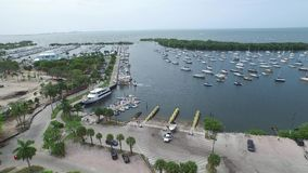 Coconut Grove Marina aerial video stock video