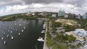 Coconut Grove Marina and sail boats stock video footage