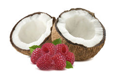 Coconut half  broken raspberry isolated on white background Royalty Free Stock Photography