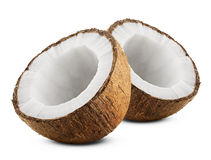 Coconut. With half isolated on white Background royalty free stock image