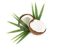 Coconut with half and leaves on white background Royalty Free Stock Image