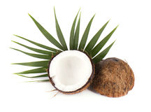 Coconut with half and leaves on white background Royalty Free Stock Photo