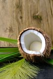 Coconut halves and green leaf on old wood background. Royalty Free Stock Image