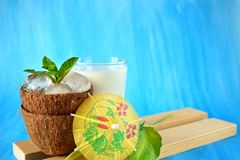 Coconut halves with ice cubes. Ingredients for a tropical cocktail on blue background. Copy space Royalty Free Stock Photo