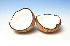 Coconut halves with shell Royalty Free Stock Photography