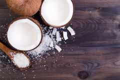 Coconut halves with shell stock photography