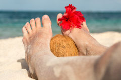 Coconut, hibiscus flower and feet Stock Photography