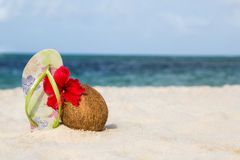Coconut, hibiscus flower and flip flops Royalty Free Stock Image
