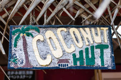 Coconut Hut Sign Royalty Free Stock Photography