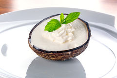 Coconut ice cream. In coco shell Royalty Free Stock Image